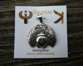 Egyptian Scarab Beetle Pendant - Sterling SIlver