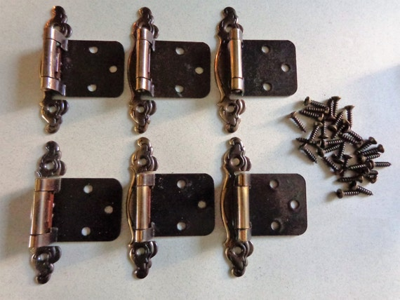 Antique Brass   Bronze Cabinet Door Hinges 6 Belwith KBC Hardware Keeler  Brass Co Hinges With Screws From RocktheJewels On Etsy Studio