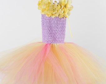Flower girl dress - tutu dress - tulle dress - yellow pink lavender tutu Dress - Girls/Youth/Toddler Dress - Pageant dress - Princess dress