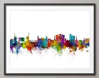 Fayetteville Skyline, Fayetteville Arkansas Cityscape Art Print (2797)