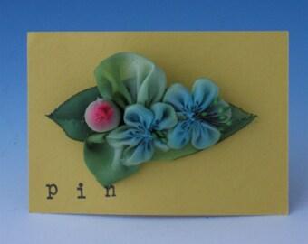 Accessories, Silk Flower Pin, Silk Flower Pins, Fabric Flower Pin, Blue