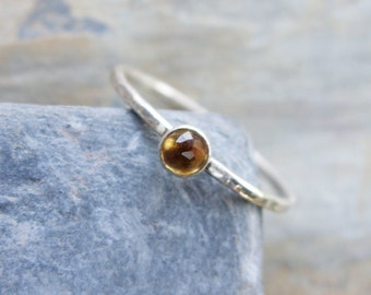 3mm Tiny Rose Cut Citrine Stacking Ring in Sterling Silver - Super Thin Micro Band, Smooth or Hammered - November Birthstone Stacking Ring