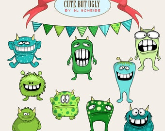 Monster clip art set, cute whimsical monsters clipart, green and blue funny creatures, big tooth commercial use