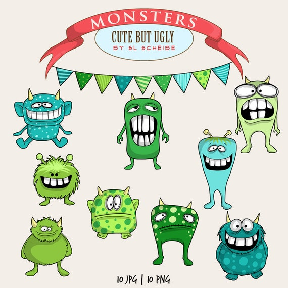 monster clip art set cute whimsical monsters clipart green and rh etsystudio com monster clip art printable monster clipart images