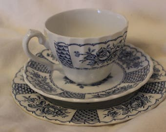 Blue and White Myott Melody Ironstone Trio Cup Saucer and Cake Plate