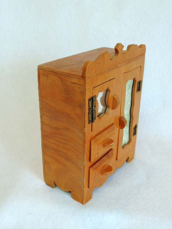 "Vintage Handcrafted Cottage style DOLL WARDROBE ARMOIRE .. 7"" Tall"