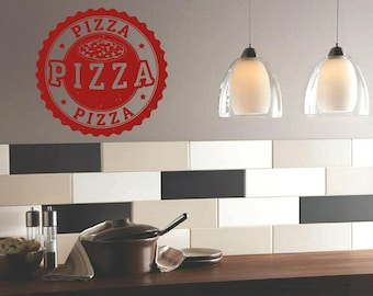 Wall Vinyl Sticker Decals Mural Room Design Pattern Pizza Slice Stamp Food   bo1361