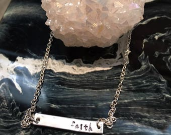 faith silver bar horizontal necklace - hand stamped - jewelry