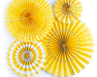 Yellow Paper Pinwheel Fans   Yellow Pinwheel Backdrop You Are My Sunshine What Will It Bee Baby Shower Yellow Fan Backdrop Rosette Backdrop
