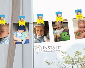 DIY Printable Curious George Birthday Party Clothespins Photo Display Boy First Birthday Baby Shower Monkey Printables Instant Download