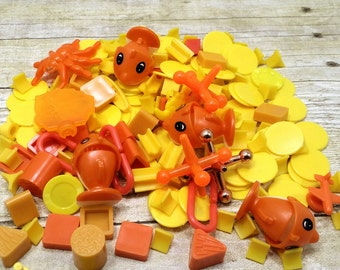 Destash, Orange and Yellow fall colors, Game pieces, plastic