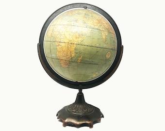 Retro Mid Century Modern World Globe - Weber Costello  - Art Nouveau - Circa 1948 - Bronze Details - Plant Inspired Design - Stately Decor