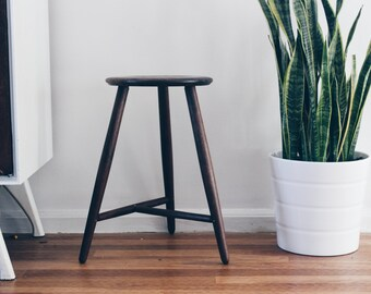 Table Height Stool: Three Legged Stool in Black Walnut