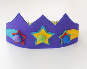 Wool felt crown, Star crown, Birthday crown, Girls crown, Boys crown
