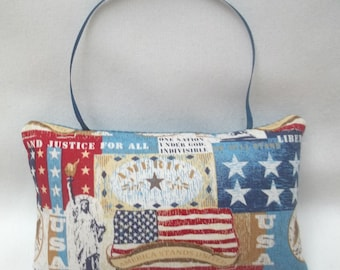 Patriotic Ornament, Mini Pillow Americana Ornament, USA, Statue Of Liberty, July 4, Independence Day, Flag