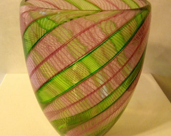 pink and green twisted cane tall bowl