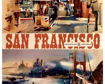 SF02 Vintage San Francisco American Airlines Travel Poster Print