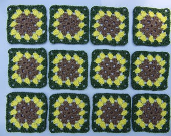 crochet granny squares set of 12, granny square sunflower motif, yarn inspired tree, granny square embellishments, hand crocheted square