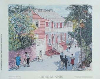 Balcony House - Bahamian art print of original oil painting by Eddie Minnis
