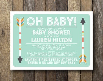 Tribal Baby Shower Invitation - Printable Shower Invite - Southwestern Baby Shower - Arrow Baby Shower Invitation - Tribal Baby Shower