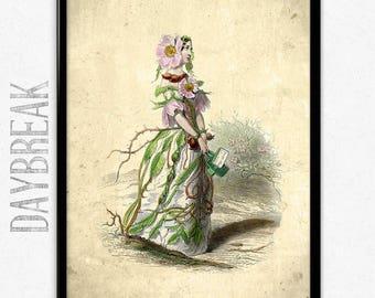 Flower Girl Sweetbriar Vintage Print - Flower Girl Poster - Flower Girl Art - Flower Poster - Bathroom Decor - Bathroom Art - Grandville
