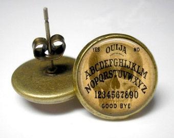 Skull Ouija - Button Stud Earrings - Antique Gold - Halloween Earrings