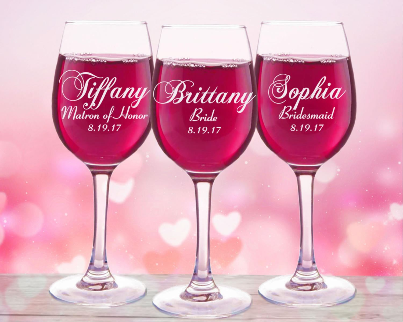 Personalized Wine Glasses 3 Bridesmaids Wedding Gift