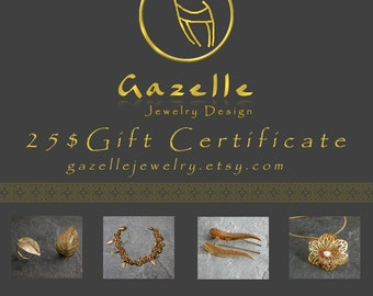 Gift For women, Last Minute Gifts ,Gift Certificate, GIFT CARD 25 USD, Buy Gift Certificate, eGift Card, Buy Gift Card, Print at Home