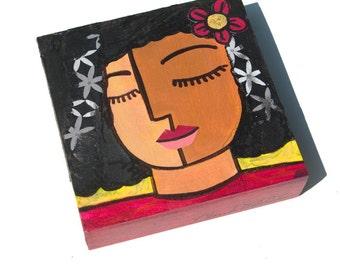 African American Girl Art - Flower Girl Decor, Girl Portrait, wall art, Teen, Tween Art, Mixed Media Collage Art