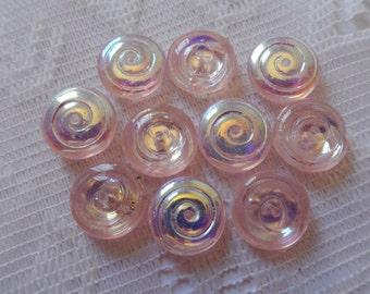 10  Light Pink AB Transparent Spiral Flat Round Czech Glass Beads  14mm