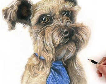 CUSTOM DRAWN Portrait - Colored Pencil -  Multiple Sizes