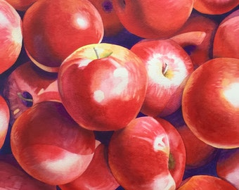 Original Apple Painting - Watercolor, Fall, Harvest, Kitchen, Autumn, Seasonal Decor