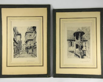 Vieil Escalier Rue Aux Fevres and Maison De Bois Rue St. Vincent Pen and Ink Drawings or Lithographs, numbered, old