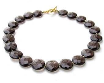 Faceted Smokey Quartz Beaded Necklace w Gold Vermeil Toggle Clasp - NATURAL GEMSTONES - Handmade Jewelry