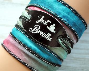 silk wrap bracelet- silk ribbon bracelet-boho-silk wrap-ruband de soie-seidenband-, Just breathe #152