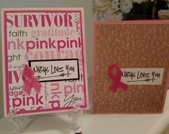Handmade Breast Cancer Cards - Cancer Support Cards - Cancer Support inspired Cards - Assorted Handmade Breast Cancer Support Cards 12.50
