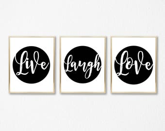 Live Laugh Love Prints - Set of 3 Printables - DIGITAL DOWNLOAD -Printable Live Laugh Love Black and White Home Decor - Valentines Day Print