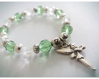 Green glass beads, fairy charms bracelet, green jewelry, art nouveau, fantasy, must have, fairy pendant, perfect gift for her