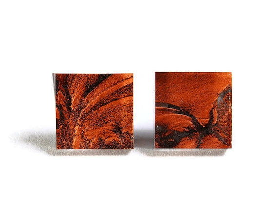 Copper orange glass square stud post earrings (705)