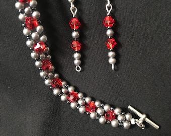 """Bracelet & Earrings """"bright in red"""" A78"""