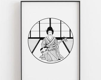 Geisha and Shamisen // Art work // print // handmade // Japan // Geisha