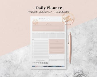 Marble Daily Planner Printable w/ Meal Planner, To Do List, Printable Planner Pages, Planner Inserts, Undated Planner, Bullet Journal