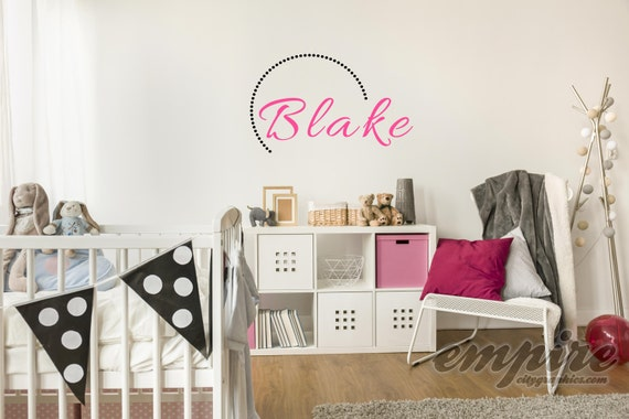 Girls Mod Name Decal, Semi Circle with Name, Modern Name Decal, Monogram Decals