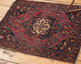2x2.5 Antique Farahan Sarouk Square Rug Mat