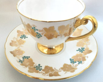 Vintage Shelley England grapevine pattern tea cup and saucer