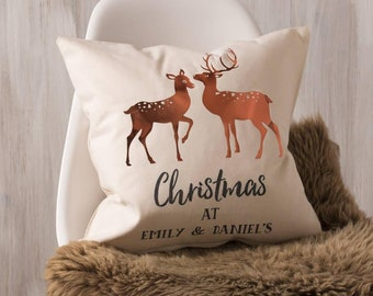 Personalised Copper Christmas Deer Cushion Pillow