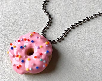 Pink Donut Necklace Doughnut Jewelry Donut Pendant Polymer Clay Donut