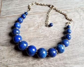 Dressed to the Nile- Gradient Beaded Genuine Blue Lapis Gemstone Necklace