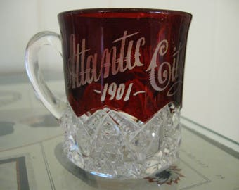 "Ruby Red Mug -  Atlantic City Souvenir -"" Percy""  1901"