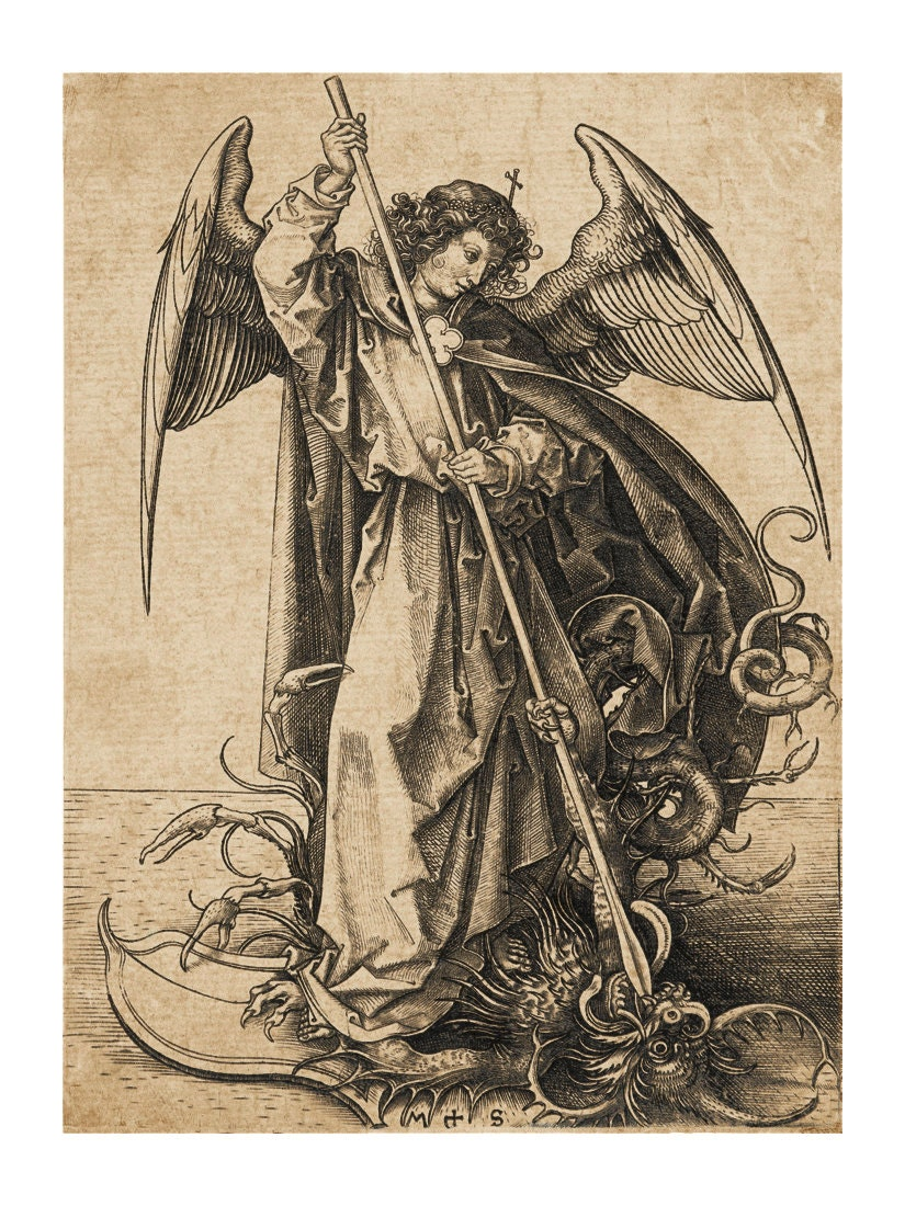 Saint Michael Slaying The Dragon Vintage Art Print Religious # Muebles Saint Michel